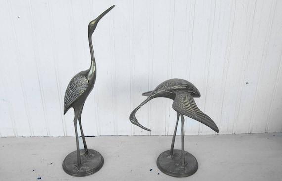 Vintage Brass Crane Figurines Collectible
