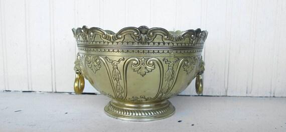 Vintage Bowl Silver Plated Floral Pattern Lion Head Handles