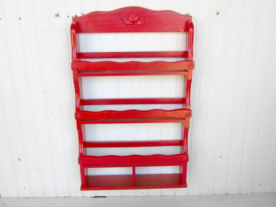 Vintage Red Shabby Chic Wall Hanging Display Shelf