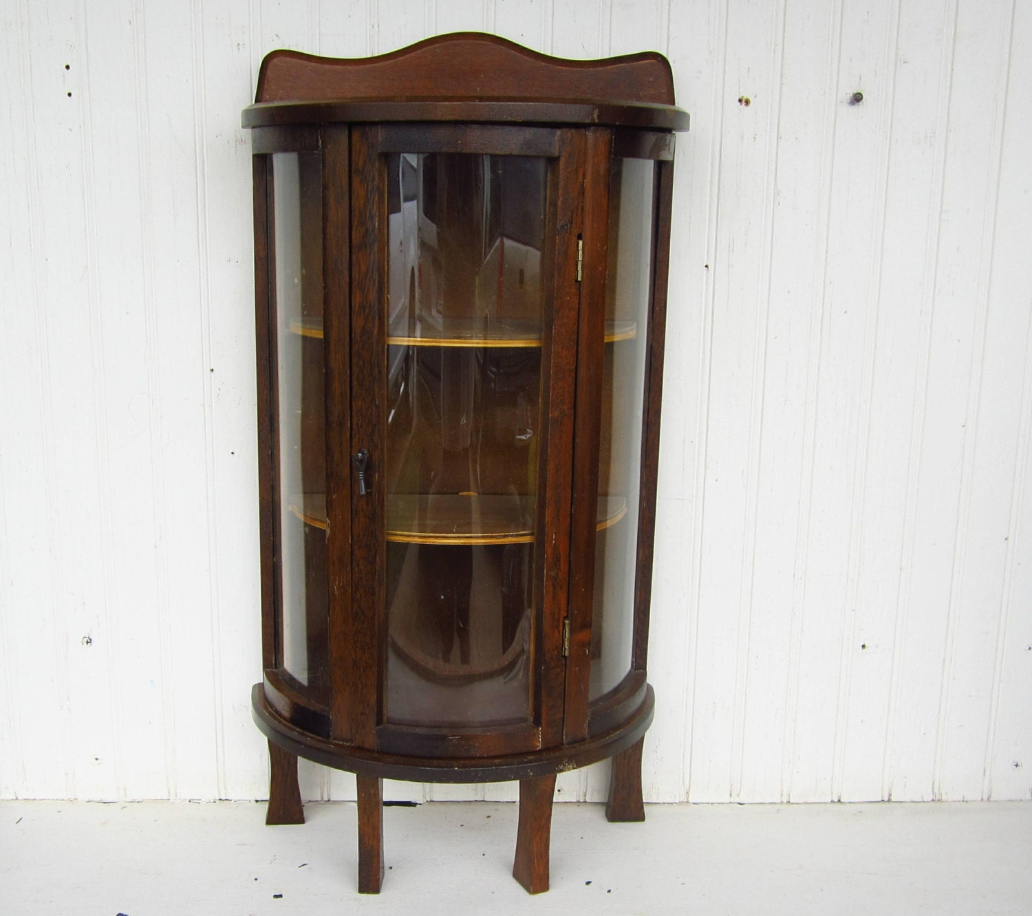 Vintage Curio Display Cabinet Curved Glass Doors