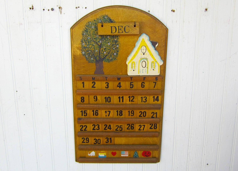 Vintage Handcrafted Perpetual Wooden Calendar