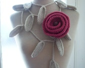 Long crochet ivory leaved lariat with an antique pink  rose brooch