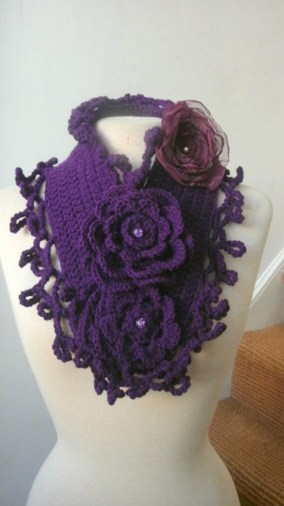 Dark Deep purple crochet  scarf scarflette with  a corsage brooch in burgundy