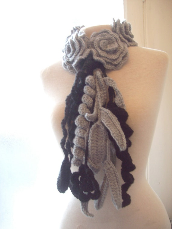 A lovely crochet roses necklace scarf scarflette lariat in black and gray