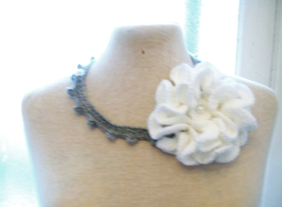 SALE...SALE... Lovely  gray crochet  necklace with red flower
