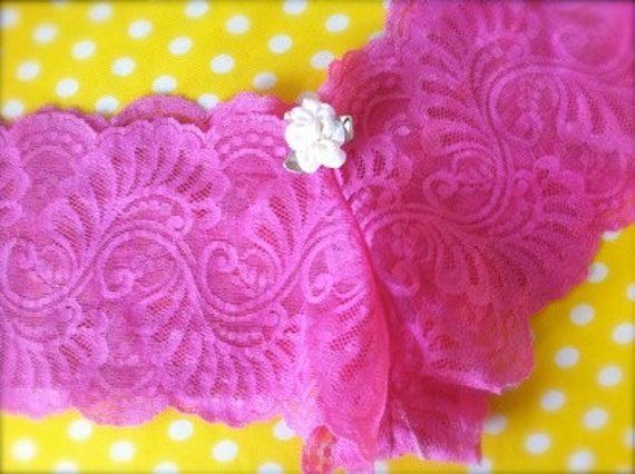 Handmade Bright Pink Stretch Lace Panties with Flower Accent