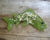 vintage Mid Century Shellart Lucite Fish Wall Plaque made with Pacific Ocean Abalone Shells