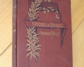 Victorian POETRY. Victorian BOOK. Poetry Book. Studies in Stanzas. Orpheus Kerr. antique 1880s book