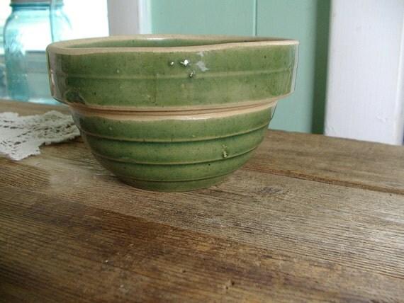 Vintage small green 5 inch American Stoneware Mixing Bowl free ship