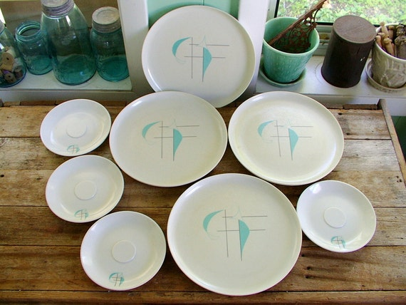 scarce vintage 1960s Atomic Mid Century Regatta Prolon melamine dishes