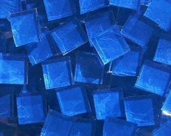 500 Blueriverglass startling blue Handpainted glass mosaic tiles