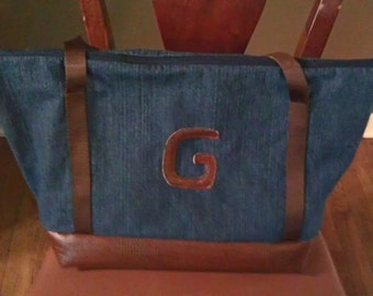 Durable Denim Weekender with Faux Leather monogram