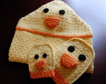 Cotton Duck Towel and Bath Mitts Set