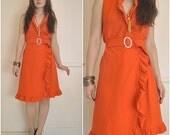 Vintage 60s Spaceage Mod Orange RUFFLE Wrap Mini Dress