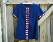 Navy 60s Mini Dress with White and Red Geometric Design