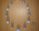 Felt Beads Necklace in pale blue and grey