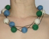 Blue White Green Felt Beads Necklace