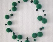 Green Felt Beads and Malachite Stone Necklace