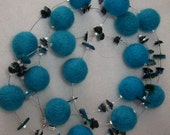 Turquoise Felt Beads, Sequins and Shell Beads Necklace