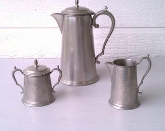 Vintage Pewter Teapot  Cream & Sugar Set by Kent Pewter