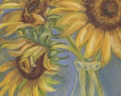 Sunflower Note Cards: original pastel art,summer,farm,country living,stationery,letter writing,blank note card