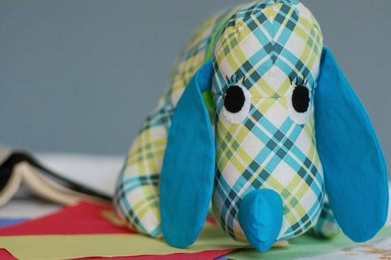 Floppy puppy dog: retro handmade stuffed animal, kids toy