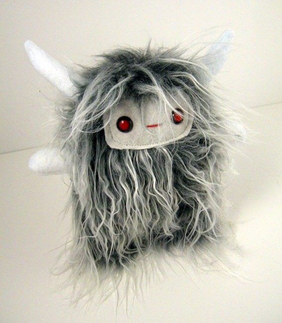 Shadow the plush horned monster shaggy white and grey stuffed animal