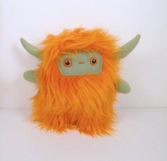 Nin The Horned Plush Monster Orange And Olive Green Stuffed