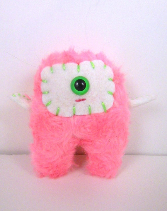 Roseyposey the plush cyclops monster miniature hot pink and white stuffed animal