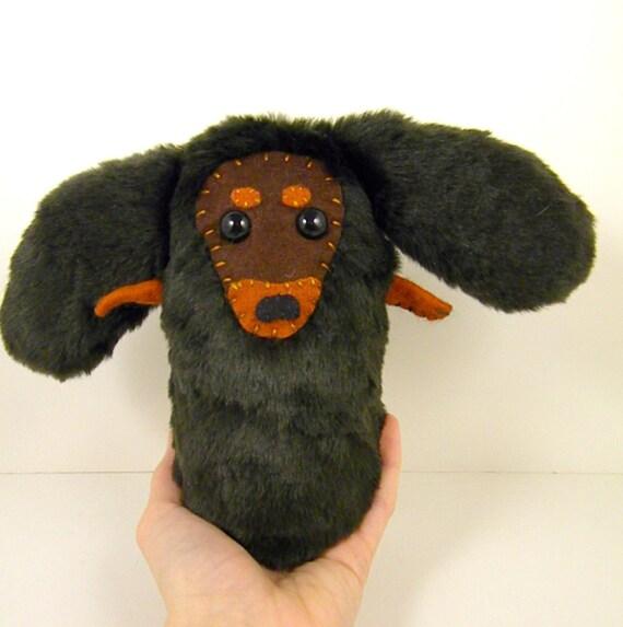 Doxxy the plush dachshund dog dark brown wiener dog stuffed animal