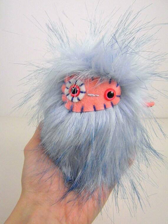 SALE Lattice the plush monster miniature blue white and pink stuffed animal