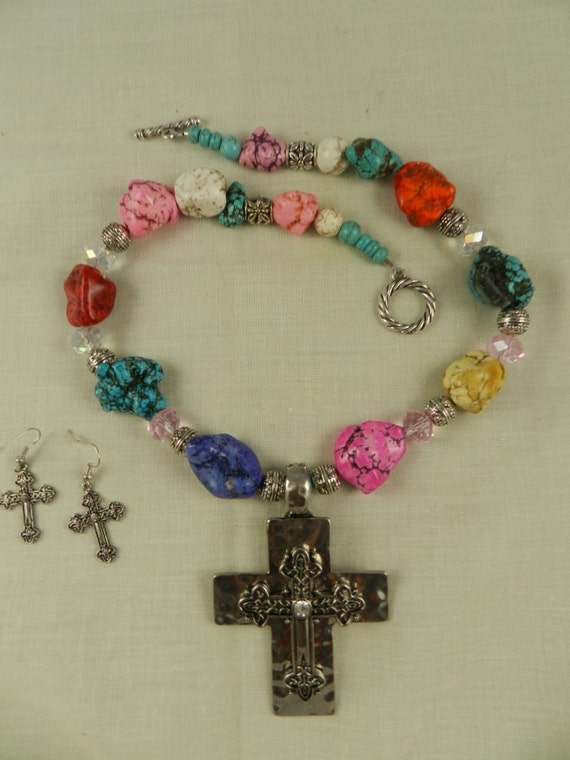 Chunky Cross Necklace Multicolored Turquoise Magnesite