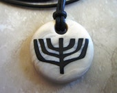 Menorah hand carved pendant wih 2mm leather adjustable necklace