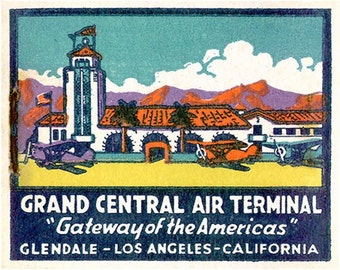 Airport & Old Airplane Wall Decor 1930s Grand Central Air Terminal Matchbook Print Historic Airplane Wall Decor Airport Office Decor Print