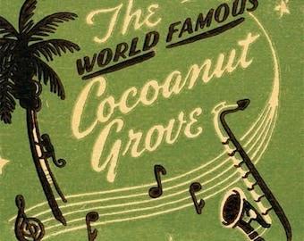 SALE - Cocoanut Grove Matchbook Print  Hollywood Wall Decor Movie Stars Nightclub Glamour Print Den Wall Decor 1950s Retro Los Angeles