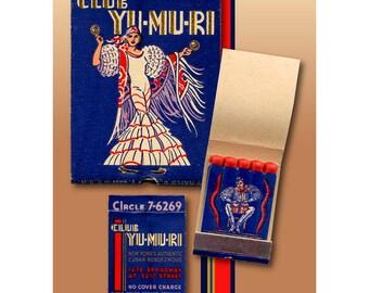 NY City Cuban Nightclub, Flamenco Dancer & Drummer, Vintage Matchbook Print, Wall Decor for Den or Bar, Gift for Dancer or Drummer.