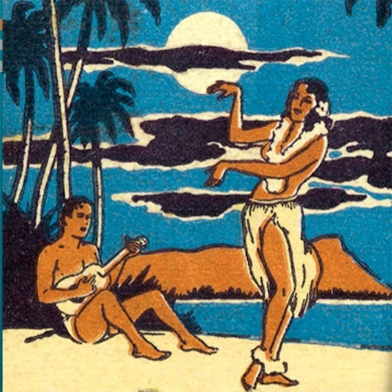 Hawaiian Matchbook PRINT - Hula Dancer, San Francisco Nightclub 1950s, Tiki Wall Decor for the Bar, Tropical Island Beach, Great Gift.