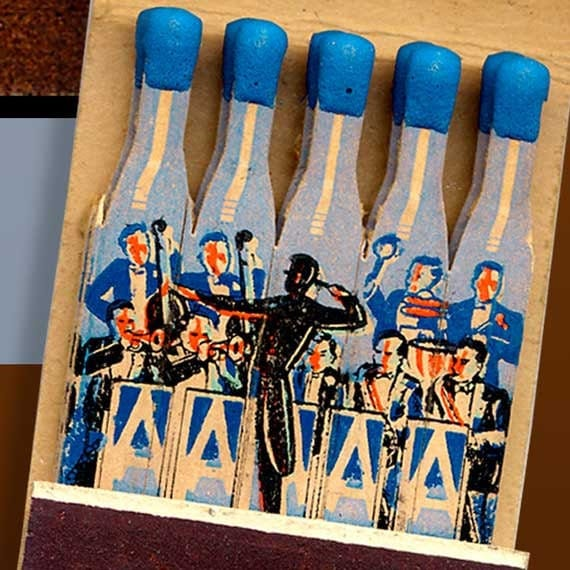 Vintage Alps Castle Matchbook Print - Musical Theme - Preakness New Jersey includes a Band in Blue and Orange colors. Restaurant ad.