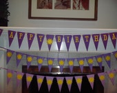 Tangled Disney Themed pennant Party Banner - Girl birthday, princess birthday, sunbursts, purple, tangled the movie, happy birthday,