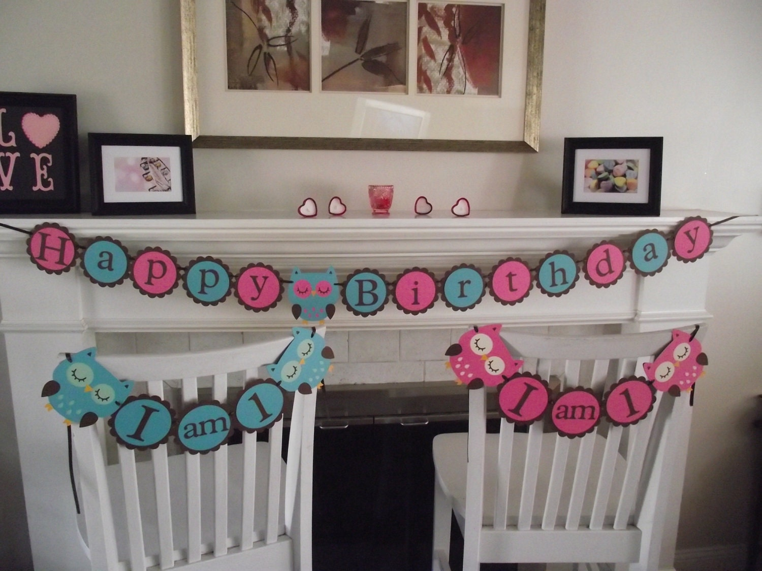 Twins birthday owl party package happy by creativepartybanners for 1st birthday decoration packages