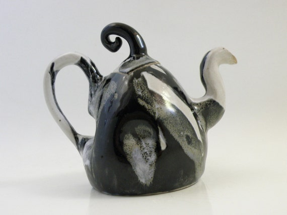 Black White Handmade Ceramic Teapot