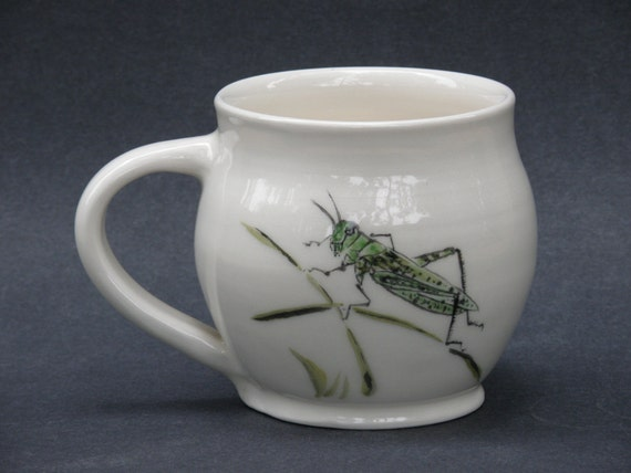 Wheel thrown hand painted ceramic cup w/ Grasshopper
