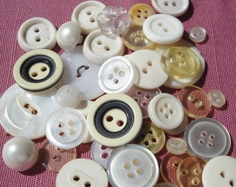 Vintage Buttons White and Cream