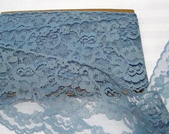 1980's Blue Flat Lace Trim 2  yards