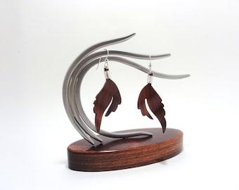 Redheart Wood /Sterling Silver Long Split Leaf Earrings