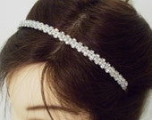 Rhinestone Bridal Headband. Pearl Bridal Headband. White or Ivory Pearls. ANNIKA