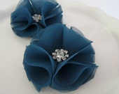 Dark Teal Shoe Clips Peacock Blue with Rhinestone Center