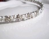 Wedding Headband. Pearl and Rhinestone Headband. Pearl Bridal Headband. ISLA