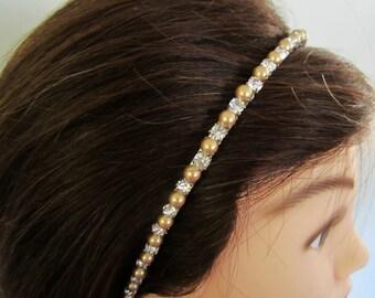 Gold Swarovski Pearls and Rhinestones Bridal Headband -- Antoinette
