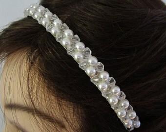 Crystal Bridal Headband. Crystal and Pearl Headband.-- Crystal
